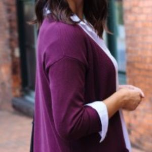 Avenue Purple Sweater With Crystal Buttons
